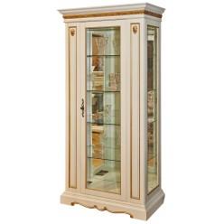 Шкаф-витрина для гостиной «Милана 8» П265.08 (слоновая кость с золочением)