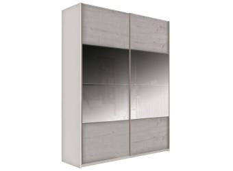 Шкаф-купе для одежды с зеркалом Комфорт 180 Z крем вудлайн, дуб анкона