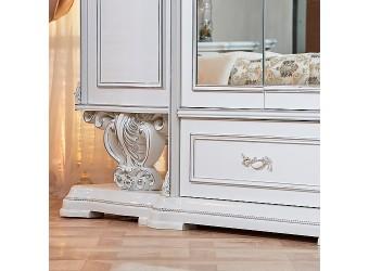 Шкаф 6-х дверный Марелла (белый с серебром)