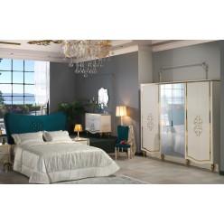 Шестистворчатый распашной шкаф для одежды и белья с зеркалом в спальню Кастелло CAST-34