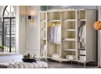 Шестистворчатый распашной шкаф для одежды и белья с зеркалом в спальню Мариана MARI