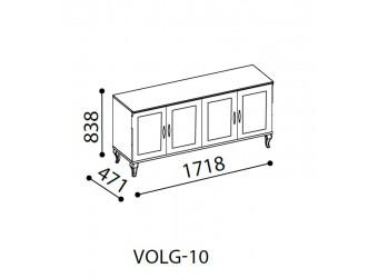 Длинный комод для посуды в гостиную Волга(светлая) VOLGA-10