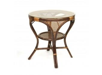 Обеденный стол Mokko L-A Classic Rattan 11/10 из ротанга со стеклом
