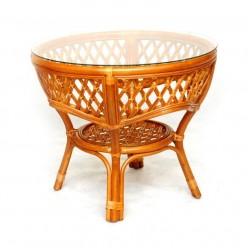 Обеденный стол Melang Classic Rattan 1305А из ротанга со стеклом