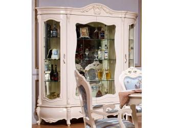 Четырехстворчатый шкаф-витрина для посуды Мона Лиза КА-ШВ-4 белый