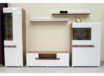 Модульная мебель для гостиной Леонардо белый глянец композиция 1