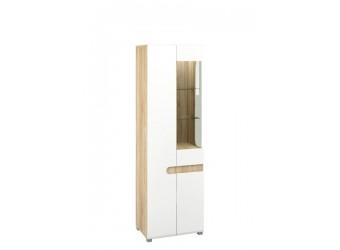 Двухстворчатый шкаф витрина для посуды в гостиную Леонардо МН-026-01/1 белый левый