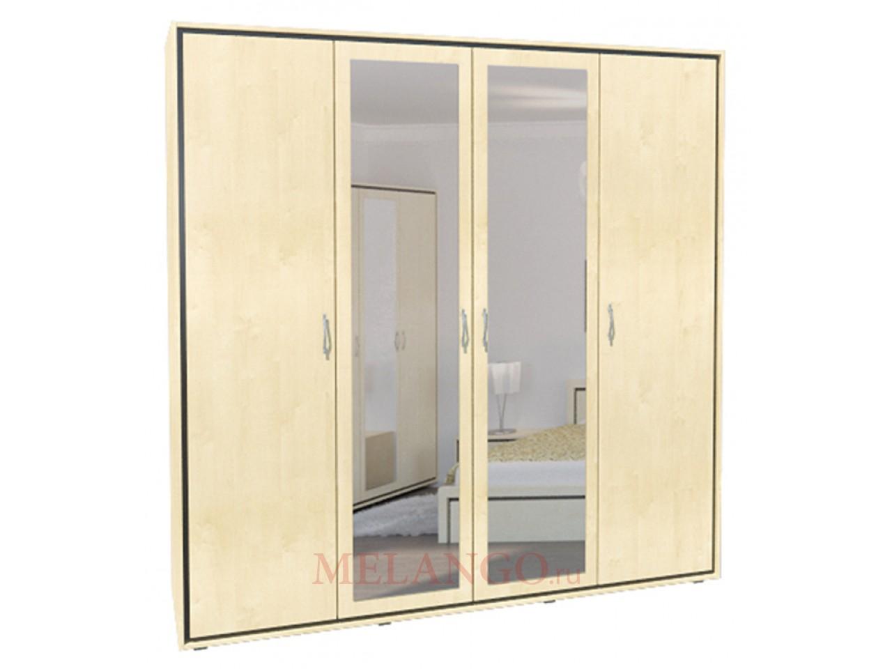 Четырехстворчатый шкаф для одежды с зеркалом в спальню Глория МН-210-07