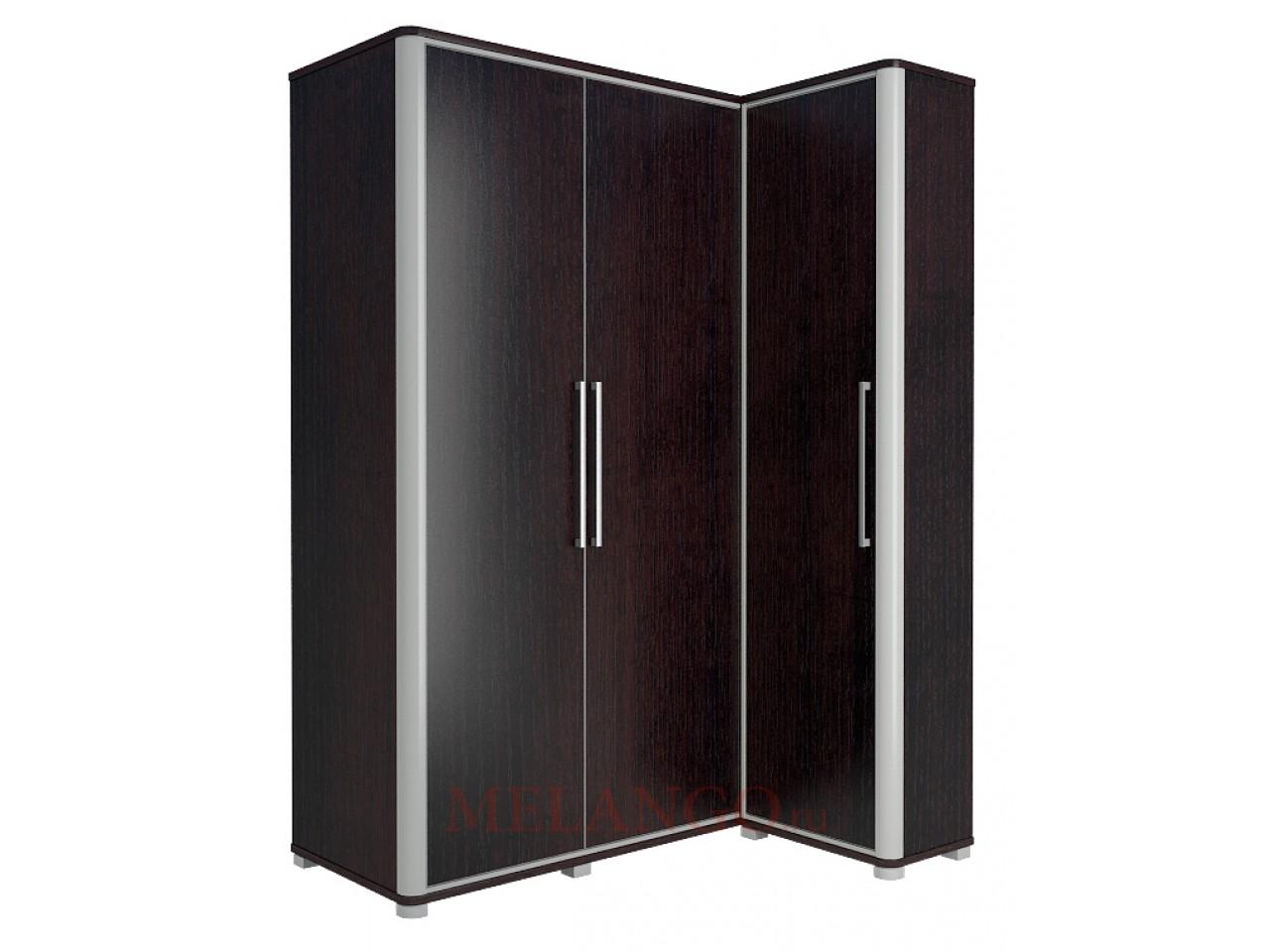 Трехстворчатый угловой шкаф для одежды и белья в спальню Наоми МН-021-05