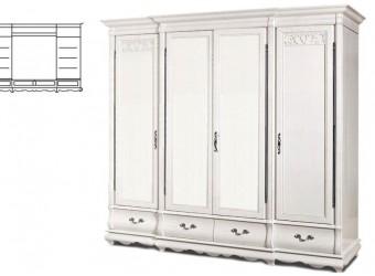 Шкаф для одежды Оскар ММ-216-01/04 (белая эмаль+пт)