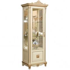 Шкаф-витрина «Алези 8 Люкс» П350.08-01л (слоновая кость с золочением)