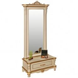 Зеркало напольное «Алези 1 Люкс» П350.15л (слоновая кость с золочением)