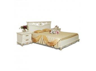 Кровать двойная Алези с низким изножьем (слоновая кость с золочением)