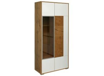 Шкаф-витрина «Гелиос» П550.01 (дуб вотан/белый глянец)