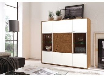 Шкаф-витрина «Гелиос» П550.02 (дуб вотан/белый глянец)