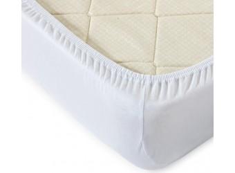 Трикотажная простыня на резинке Белая