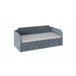 Кровать с мягкой обивкой и ящиками «Кантри» (900) (Замша синяя) ТД-308.12.02