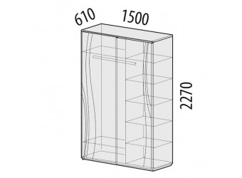 Шкаф-купе для одежды Соната 98.15