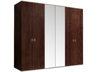 Шестистворчатый шкаф для одежды с зеркалом Rimini РМШ1/6 (орех орегон)