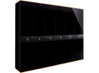 Шестистворчатый шкаф для одежды  Rimini Solo РМШ2/6 (s) (черный)