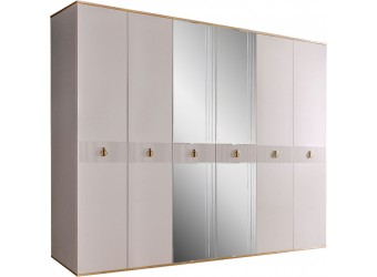 Шестистворчатый шкаф для одежды с зеркалом Rimini Solo РМШ1/6 (s) (слоновая кость)