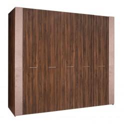 Пятистворчатый шкаф для одежды Челси Элеганс ЧШ2/5(Э) (орех, розовый)
