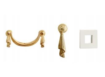 Комод-витрина для посуды Тиффани Премиум ТФКМ-3(П) (слоновая кость, золото)