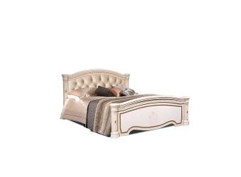 Двуспальная кровать с мягкой спинкой Карина-3 К3КР-3 с шелкографией (бежевая)