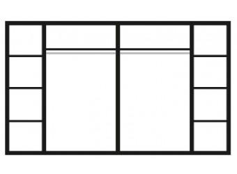 Шестистворчатый шкаф для одежды с зеркалом Карина-3 К3Ш1/6 с шелкографией (орех)