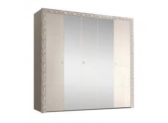 Пятистворчатый шкаф для одежды с зеркалом Тиффани Премиум ТФШ1/5(П) (слоновая кость, серебро)