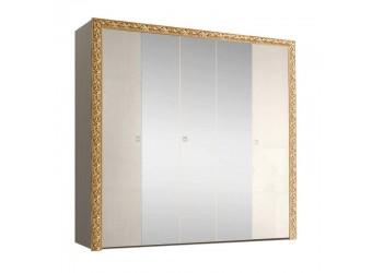 Пятистворчатый шкаф для одежды с зеркалом Тиффани Премиум ТФШ1/5(П) (слоновая кость, золото)