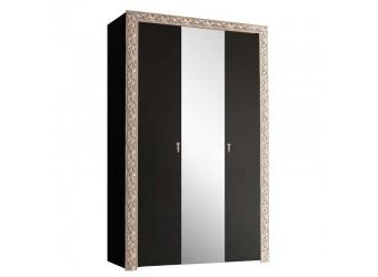 Трехстворчатый шкаф для одежды с зеркалом Тиффани Премиум ТФШ1/3(П) (черный, серебро)